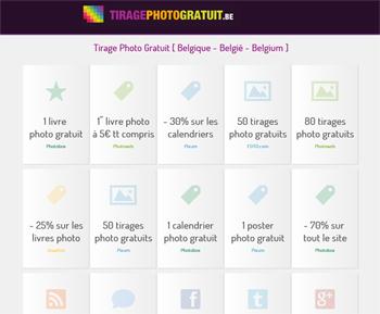 tirages photo gratuits en Belgique / Belgium / België